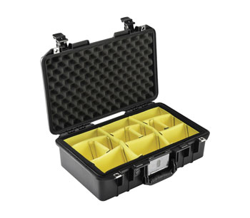 PELI 1485 AIR CASE With padded dividers, internal dimensions 450.9 x 258.6 x 15lack6.2mm, black