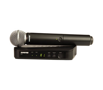 SHURE BLX24UK/SM58 RADIOMIC SYSTEM Handheld, SM58 capsule, 606-630MHz, ch38