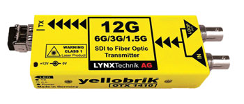 LYNX YELLOBRIK OTX-1410 FIBRE OPTIC TRANSMITTER 12G, 6G, 3G, HD-SDI video in, 10km