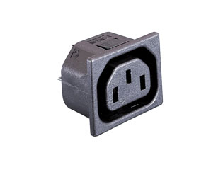 BULGIN PX0695/15/28 IEC MAINS CONNECTOR F type, female, panel, un-shuttered, snap-in fixing