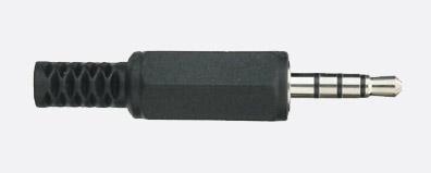 MINIATURE JACK PLUG 3.5mm 4 pole, black