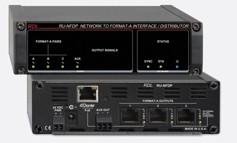 rdl format  RDL RU-NFDP DANTE INTERFACE Output, 8x Format-A RJ8 out, aux term block  out, POE
